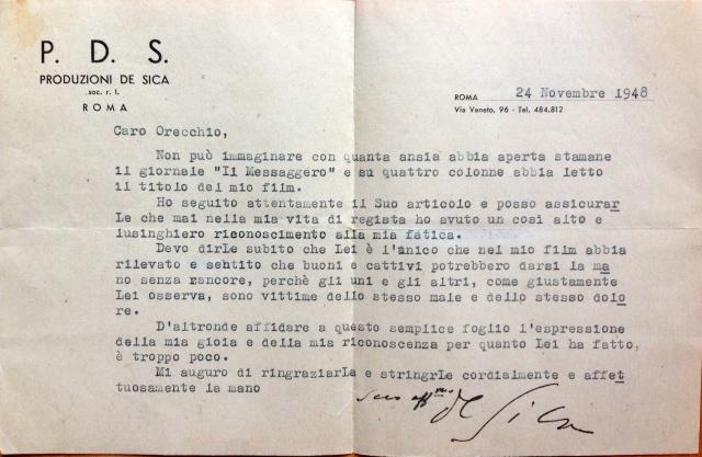 Ladri di biciclette, Vittorio De Sica ringrazia Alfredo Orecchio per la sua recensione (1948)