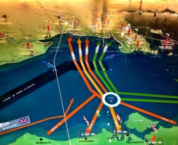 Mappa dello sbarco. Dal Mèmorial di Caen